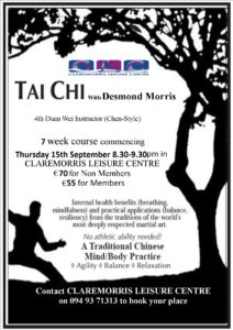 Tai Chi 7 week course 15th Sept